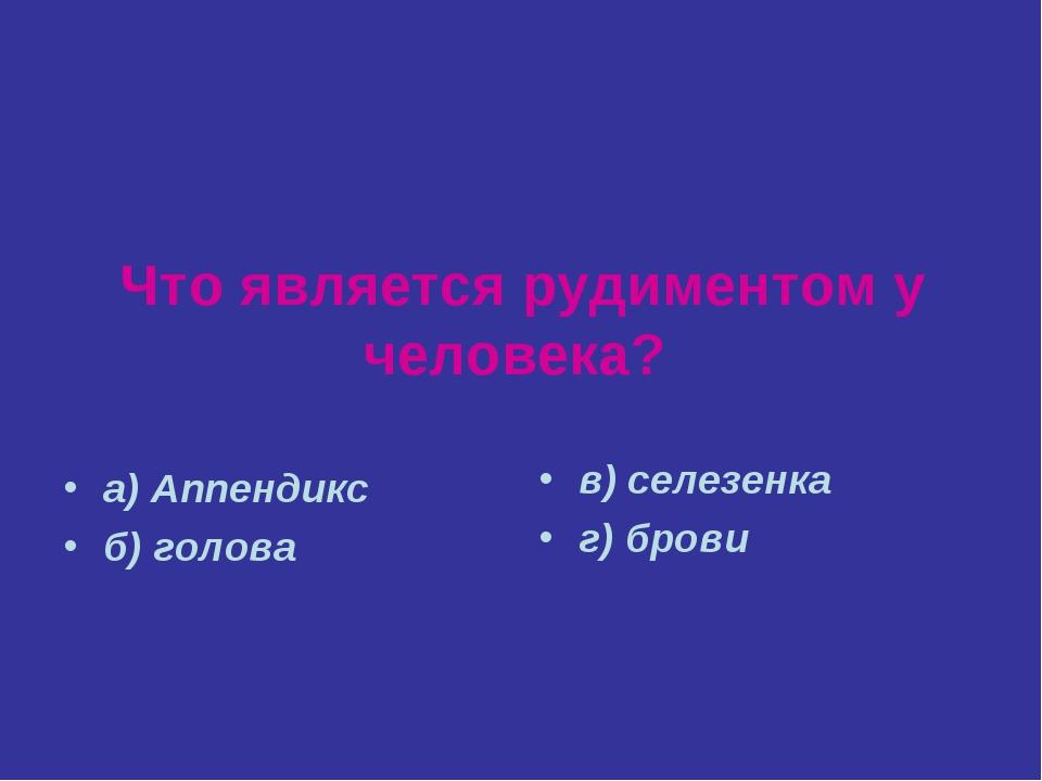 Что является рудиментом у человека? а) Аппендикс б) голова в) селезенка г) бр...