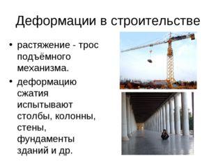Деформации в строительстве растяжение - трос подъёмного механизма. деформаци
