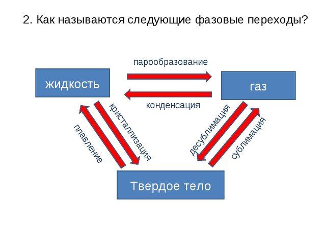 2. Как называются следующие фазовые переходы? жидкость газ Твердое тело пароо...