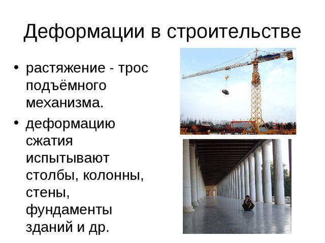Деформации в строительстве растяжение - трос подъёмного механизма. деформаци...