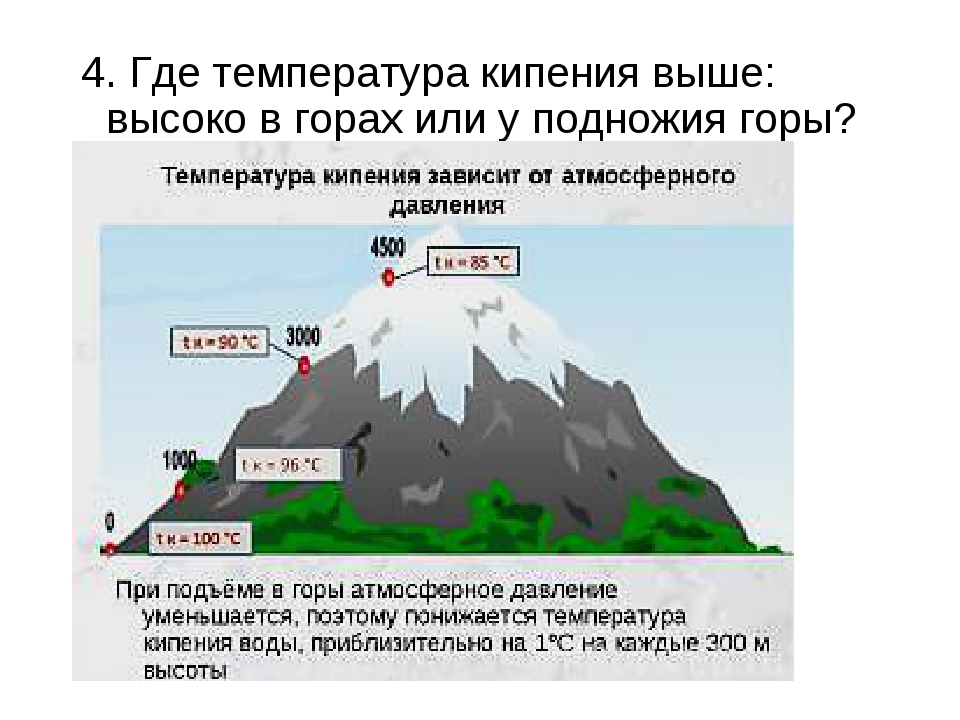 4. Где температура кипения выше: высоко в горах или у подножия горы?