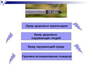 Вред здоровью курильщика Вред здоровью окружающих людей Вред окружающей среде