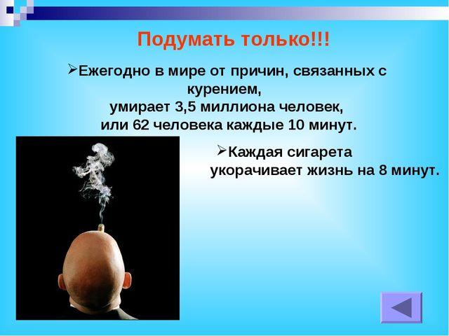 Ежегодно в мире от причин, связанных с курением, умирает 3,5 миллиона человек...