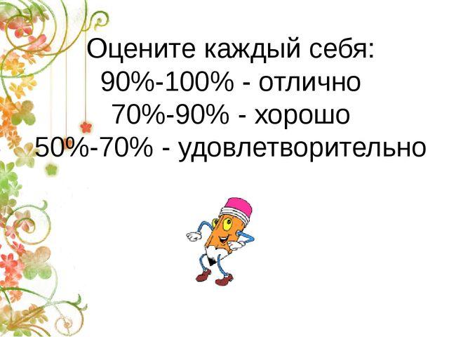 Оцените каждый себя: 90%-100% - отлично 70%-90% - хорошо 50%-70% - удовлетвор...