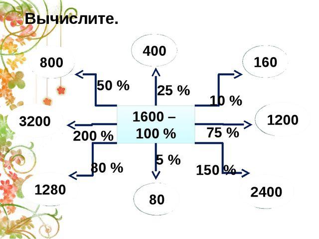 1600 – 100 % 400 800 160 1200 2400 80 1280 3200 Вычислите. 50 % 25 % 10 % 75...