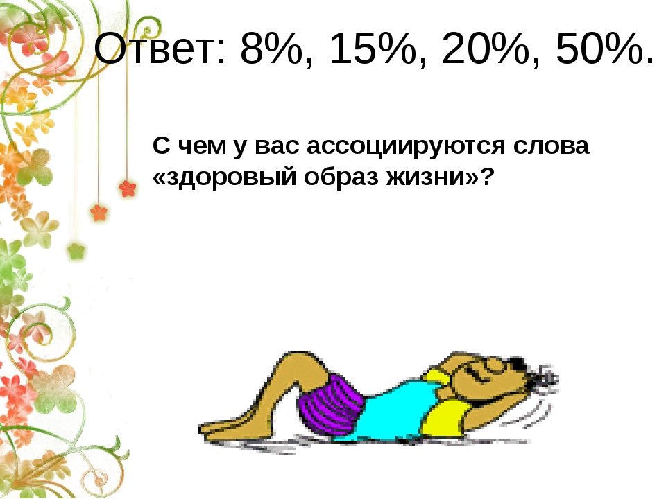 Ответ: 8%, 15%, 20%, 50%. С чем у вас ассоциируются слова «здоровый образ жиз...