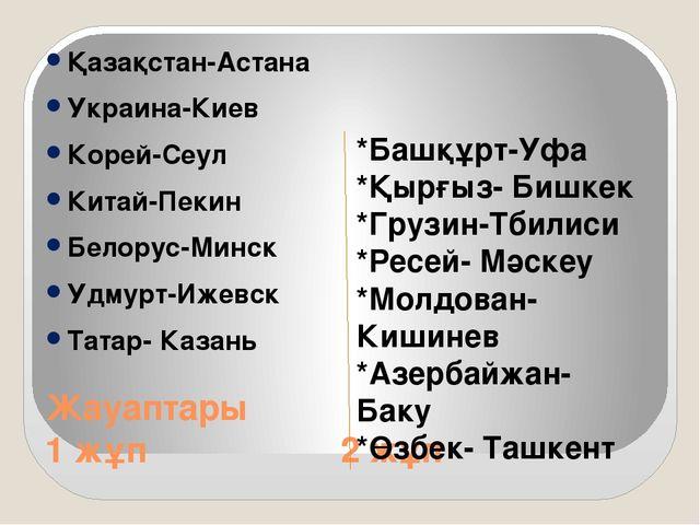 Жауаптары 1 жұп 2 жұп Қазақстан-Астана Украина-Киев Корей-Сеул Китай-Пекин Бе...
