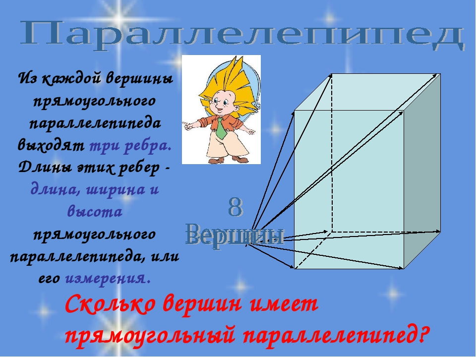 Сколько вершин имеет прямоугольный параллелепипед? Из каждой вершины прямоуго...