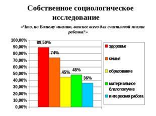 Собственное социологическое исследование «Что, по Вашему мнению, важнее всего