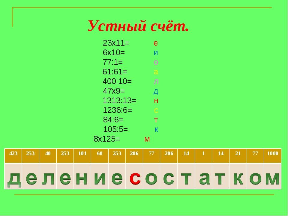 23х11= е 6х10= и 77:1= о 61:61= а 400:10= л 47х9= д 1313:13= н 1236:6= с 84:6...