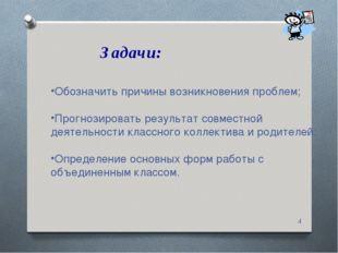 Задачи: * Обозначить причины возникновения проблем; Прогнозировать результат