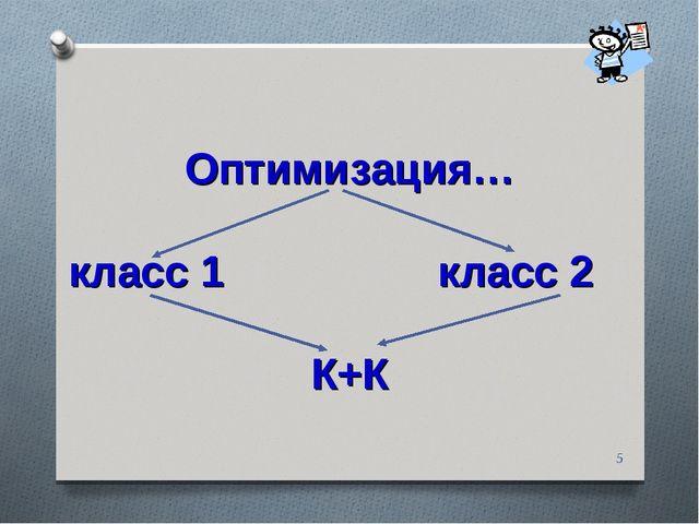 * Оптимизация… класс 1 класс 2 К+К