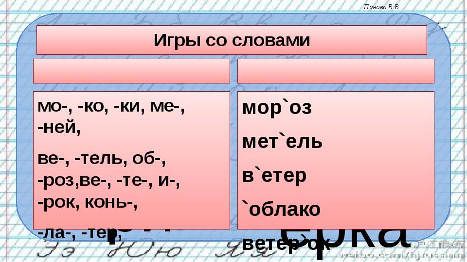 Игры со словами Собери слова из слогов мо-, -ко, -ки, ме-, -ней, ве-, -тель,...