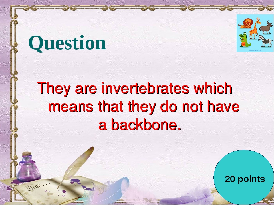 Question They are invertebrates which means that they do not have a backbone....
