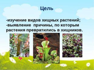 Цель -изучение видов хищных растений; -выявление причины, по которым растения