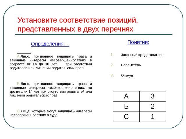 Установите соответствие позиций, представленных в двух перечнях Определения:...