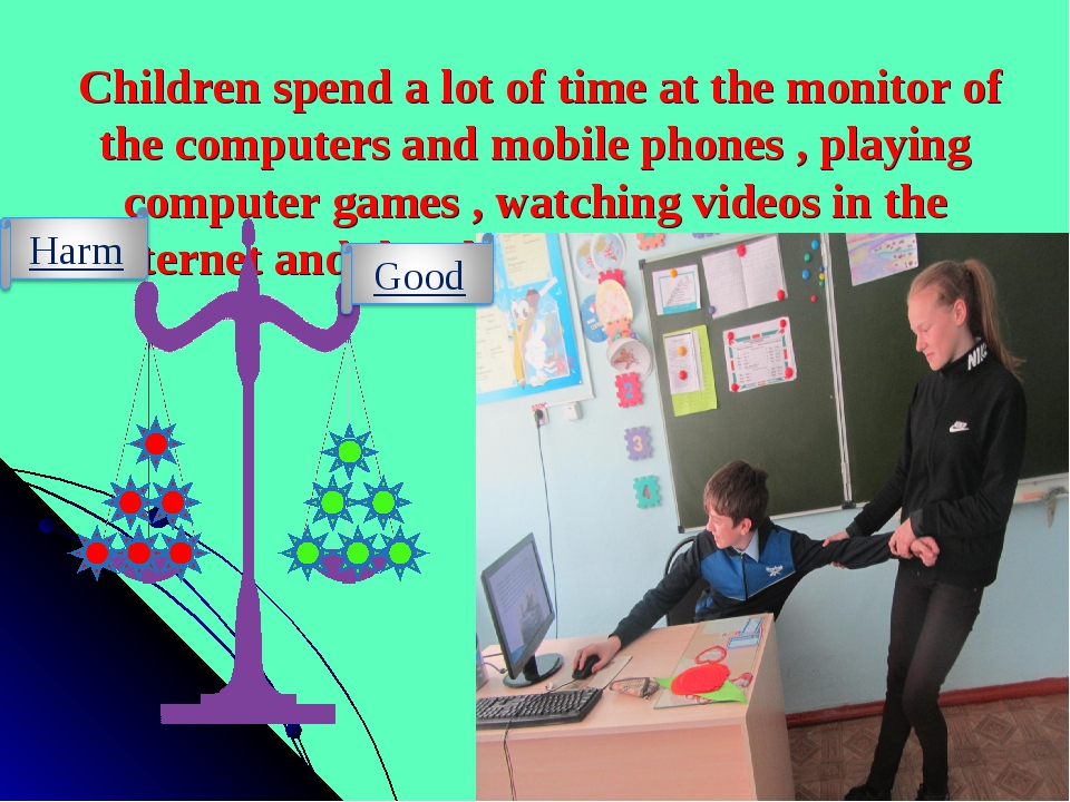 Children spend a lot of time at the monitor of the computers and mobile phon...