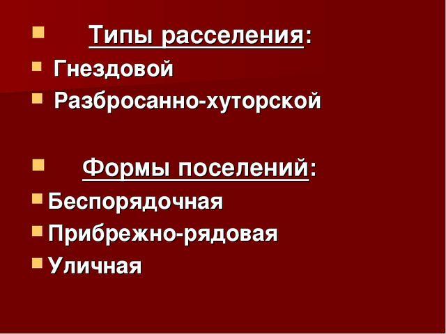 Типы расселения: Гнездовой Разбросанно-хуторской Формы поселений: Беспорядоч...