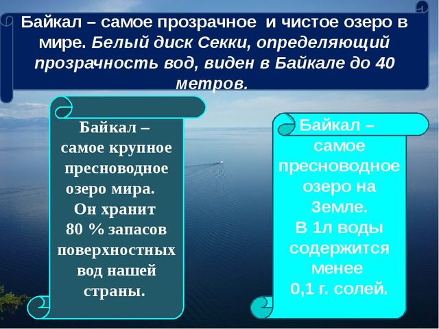 Байкал – самое крупное пресноводное озеро мира. Он хранит 80 % запасов поверх...