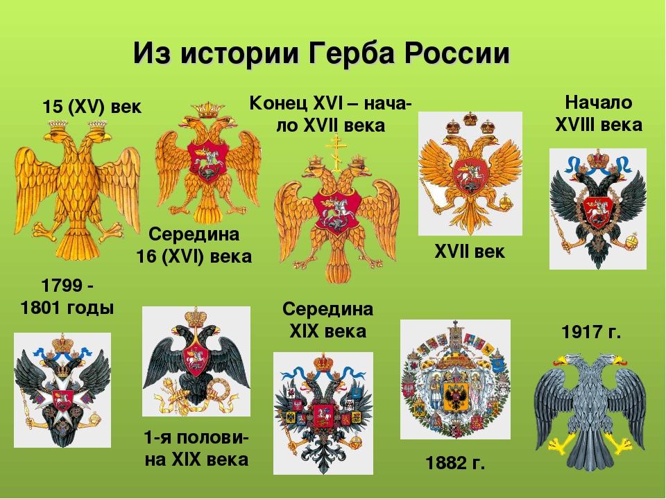 Из истории Герба России 15 (XV) век Середина 16 (XVI) века Конец XVI – нача-...