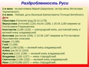 Раздробленность Руси Всеволод Юрьевич Большое Гнездо (в крещении Дмитрий, 115