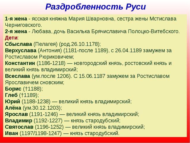 Раздробленность Руси Всеволод Юрьевич Большое Гнездо (в крещении Дмитрий, 115...