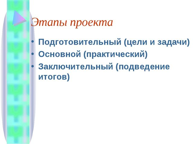 Этапы проекта Подготовительный (цели и задачи) Основной (практический) Заключ...
