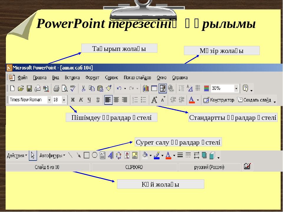 PowerPoint терезесінің құрылымы Тақырып жолағы Мәзір жолағы Стандартты құралд...