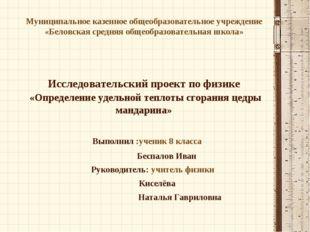 Муниципальное казенное общеобразовательное учреждение «Беловская средняя обще