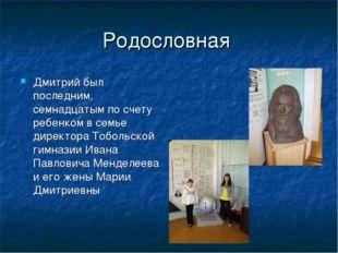Родословная Дмитрий был последним, семнадцатым по счету ребенком в семье дире