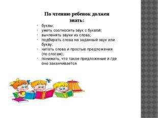 По чтению ребенок должен знать: буквы; уметь соотносить звук с буквой; вычлен