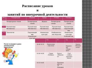 Расписание уроков и занятий по внеурочной деятельности После последнего урока