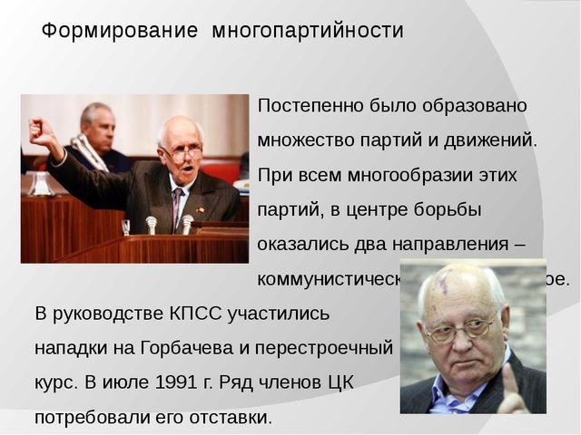 Формирование многопартийности Постепенно было образовано множество партий и...