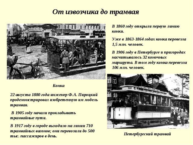 От извозчика до трамвая В 1860 году открыли первую линию конки. Уже в 1863-18...