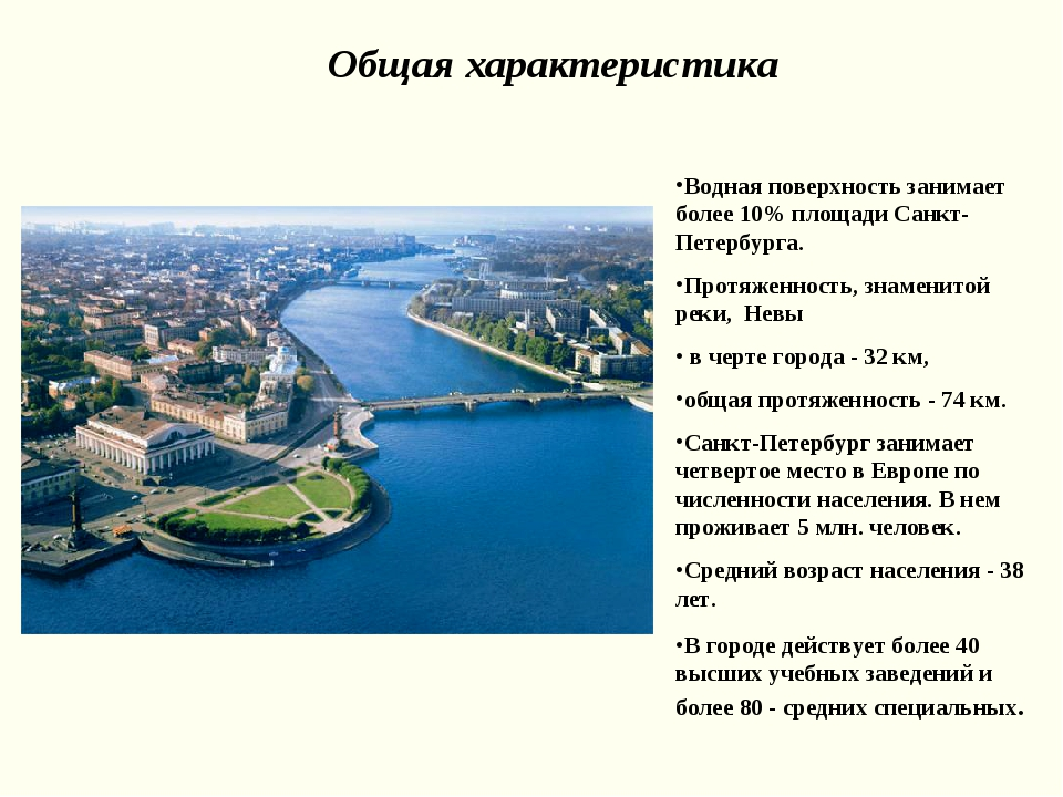 Общая характеристика Водная поверхность занимает более 10% площади Санкт-Пете...