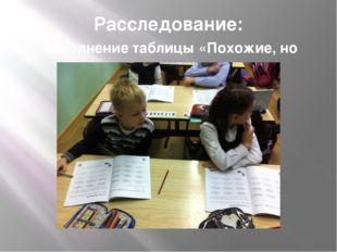 Расследование: заполнение таблицы «Похожие, но разные»