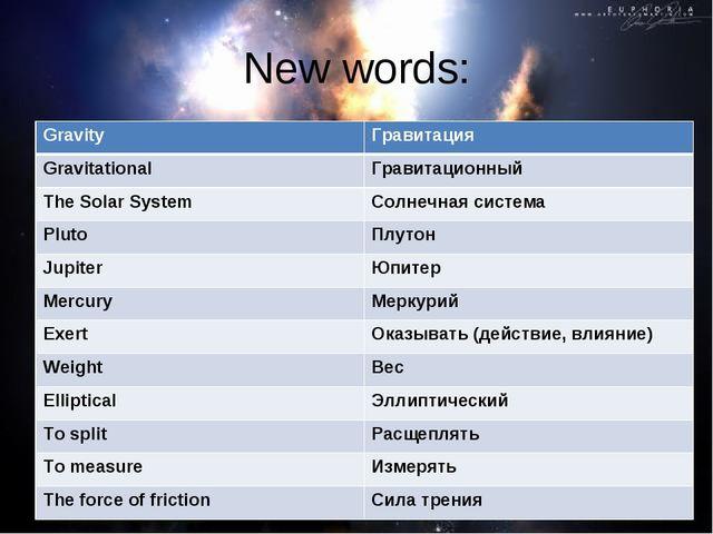 New words: GravityГравитация GravitationalГравитационный The Solar SystemС...