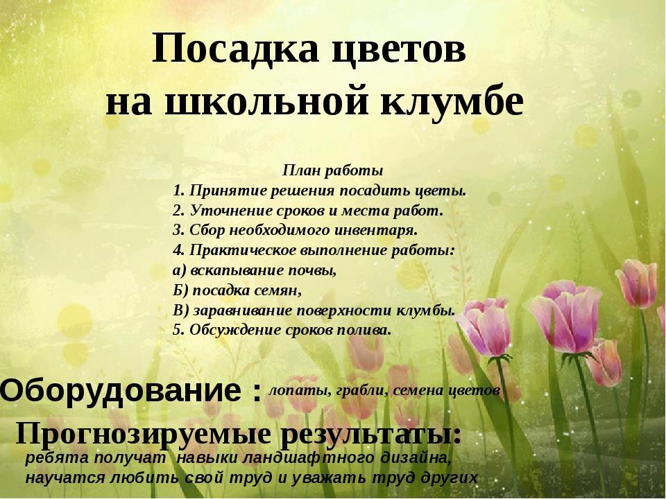Посадка цветов на школьной клумбе План работы 1. Принятие решения посадить ц...