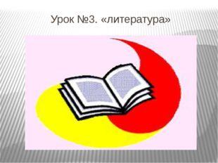Урок №3. «литература»