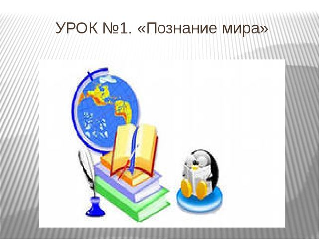 УРОК №1. «Познание мира»