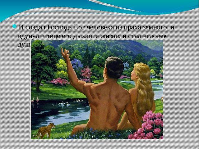 И создал Господь Бог человека из праха земного, и вдунул в лице его дыхание ж...