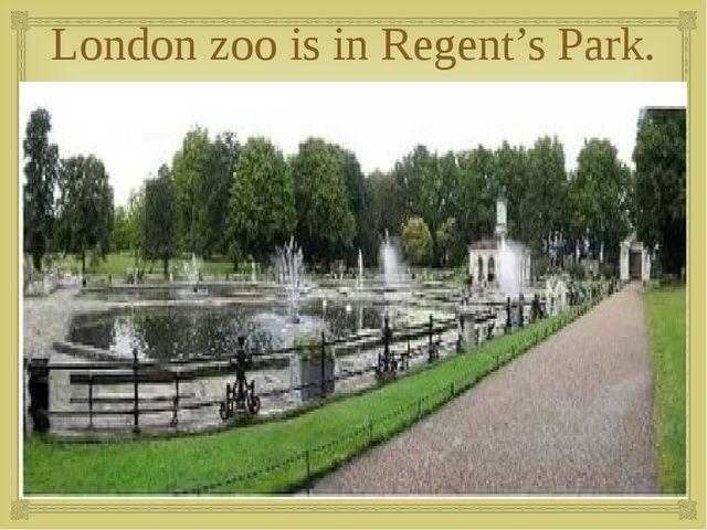 London zoo is in Regent's Park. 