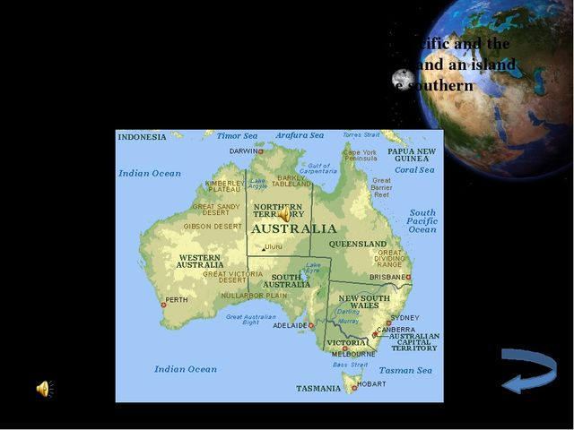 Australia is situated south of Asia, between the Pacific and the Indian Ocea...