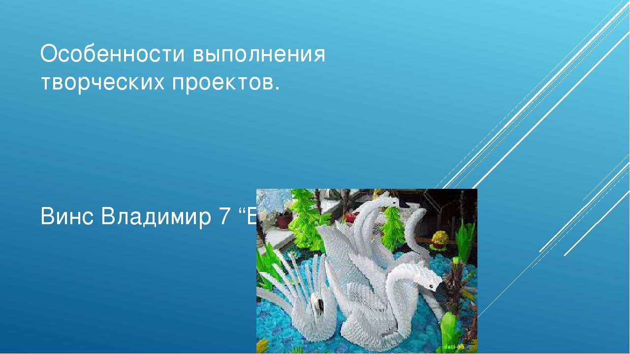 """Особенности выполнения творческих проектов. Винс Владимир 7 """"Б,, класс."""