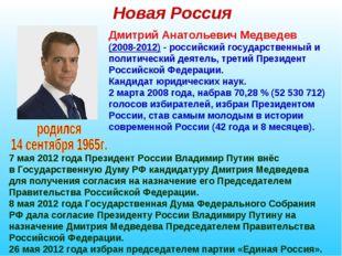 Новая Россия Дмитрий Анатольевич Медведев (2008-2012) - российский государств