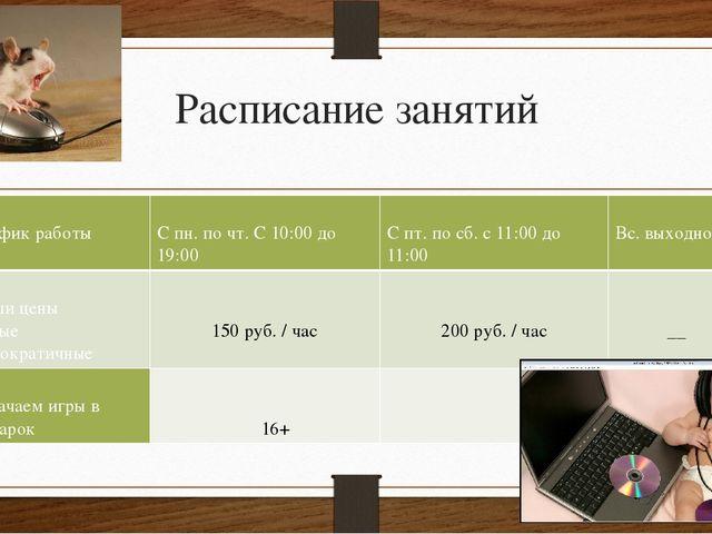 Расписание занятий График работы С пн.по чт. С 10:00 до 19:00 С пт.по сб. с 1...