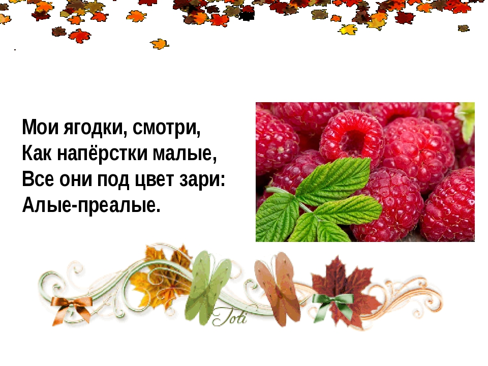 Мои ягодки, смотри, Как напёрстки малые, Все они под цвет зари: Алые-преалые.