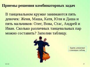 В танцевальном кружке занимаются пять девочек: Женя, Маша, Катя, Юля и Даша