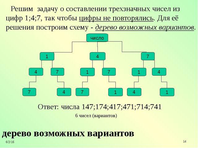 дерево возможных вариантов Решим задачу о составлении трехзначных чисел из ц...