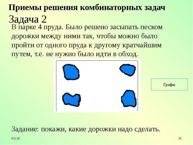 Приемы решения комбинаторных задач Задача 2 В парке 4 пруда. Было решено зас...